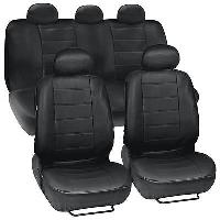 Black Leatherette Car Seat Covers Front Rear Full Set Synthetic Leather Auto comprar usado  Enviando para Brazil